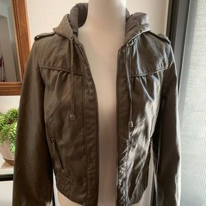 Paris Blues Faux Leather Gray Hooded Jacket